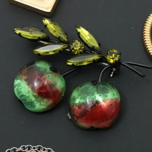 1950s Glass Apple and Leaf Branch Brooch